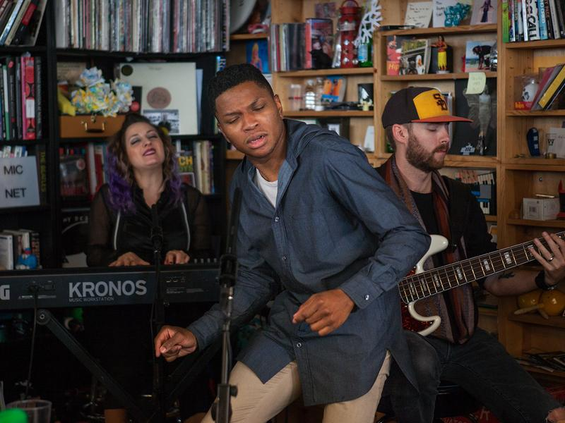 Gallant performs a Tiny Desk Concert on Jan. 10, 2017. (Claire Harbage/NPR)