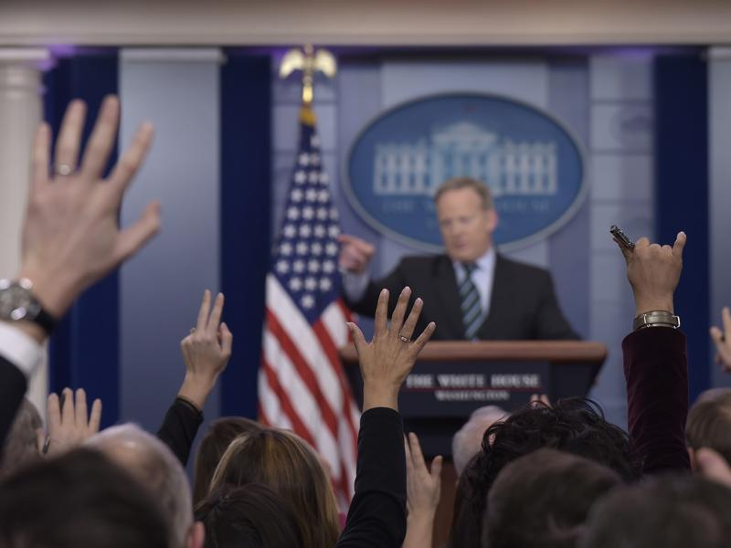 White House press secretary Sean Spicer calls on a reporter during the daily briefing at the White House in Washington, on Wednesday.