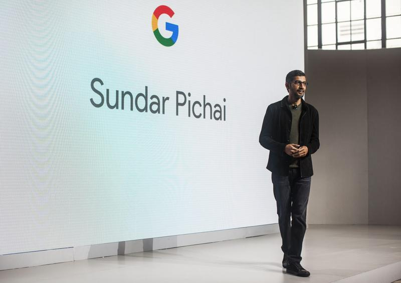 Sundar Pichai, CEO of Google Inc., speaks during an event to introduce Google Pixel phone and other Google products in October 2016 in San Francisco. (Ramin Talaie/Getty Images)