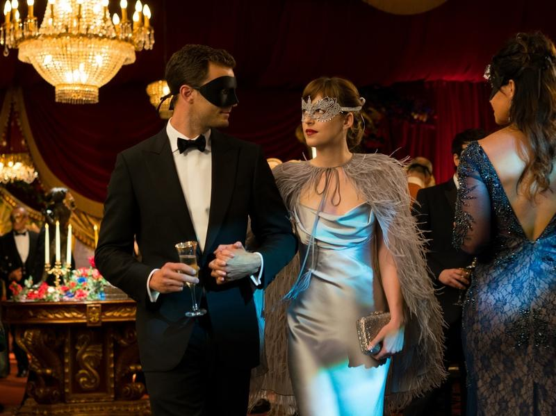 The Masque of the Bed Death: Christian (Jamie Dornan) and Anastasia (Dakota Johnson) try to keep things interesting in <em>Fifty Shades Darker</em>.