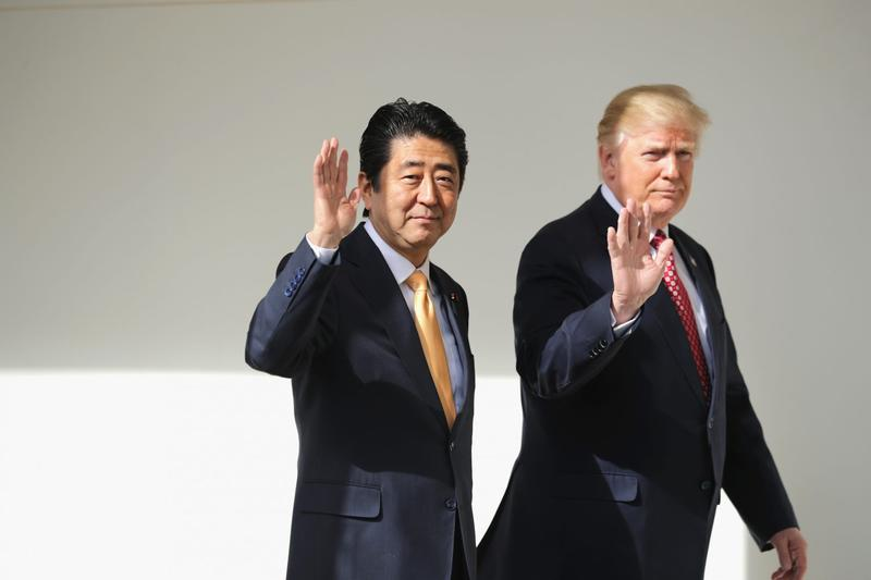 President Donald Trump and Japan Prime Minister Shinzo Abe walk together to their joint press conference in the East Room at the White House on Feb. 10, 2017 in Washington. (Chip Somodevilla/Getty Images)