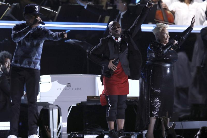 Chance the Rapper, from left, Kirk Franklin, and Tamela Mann perform at the 59th annual Grammy Awards on Sunday, Feb. 12, 2017, in Los Angeles. (Photo by Matt Sayles/Invision/AP)