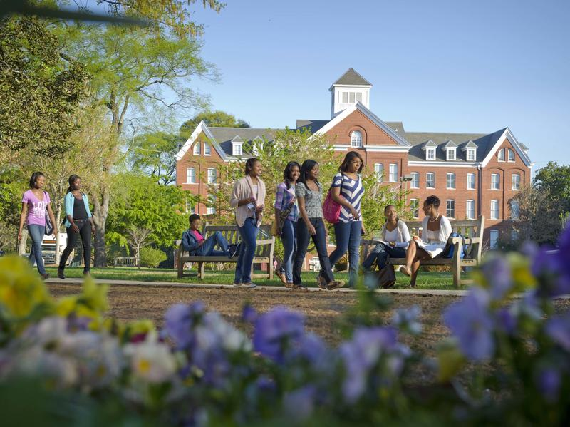 Students stroll around the campus of Spelman College, a historically black college in Atlanta.