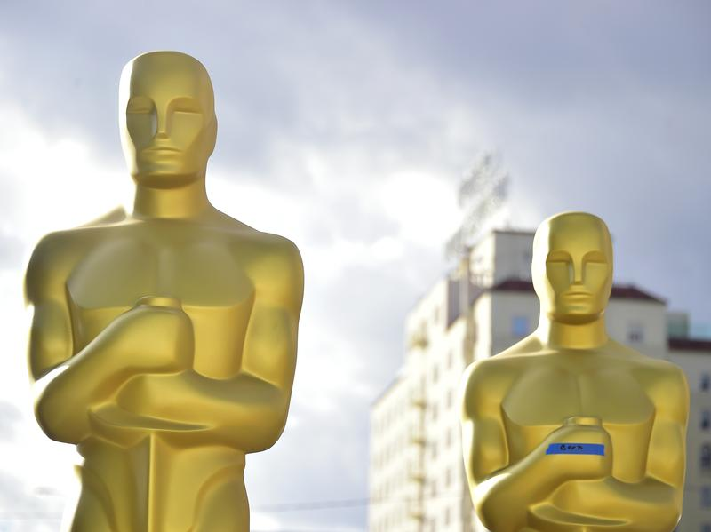 Oscar statues in a Hollywood back lot getting a last touch-up before the 89th Academy Awards on Sunday.