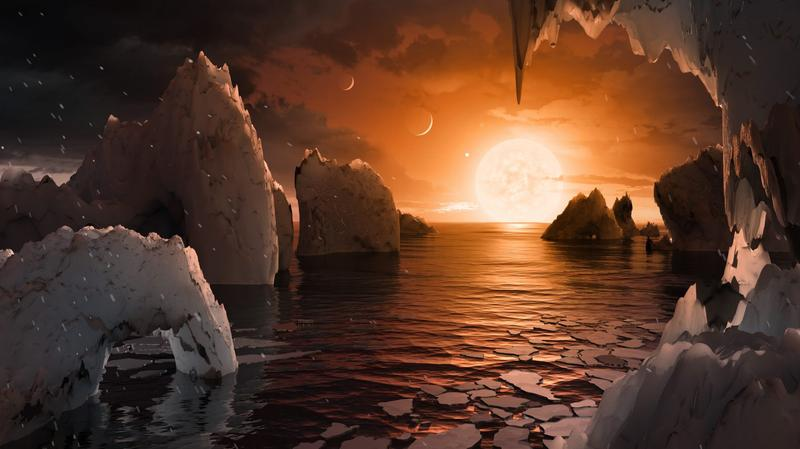 An artist's rendering of the surface of the exoplanet TRAPPIST-1f, located in the TRAPPIST-1 system in the constellation Aquarius. (Courtesy NASA/JPL-Caltech/T. Pyle (IPAC))