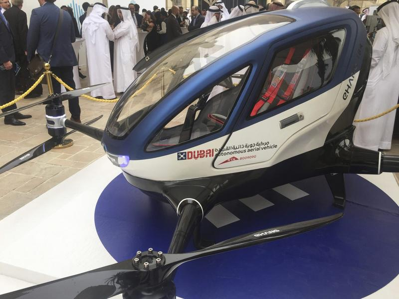 A model of EHang 184 and the next generation of Dubai Drone Taxi (Jon Gambrell/AP)