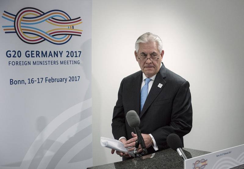 Secretary of State Rex Tillerson arrives to make a statement after a meeting with Russia's Foreign Minister at Sergei Lavrov at the World Conference Center, in Bonn, Germany, on Feb. 16, 2017. (Brendan Smialowski/AP)