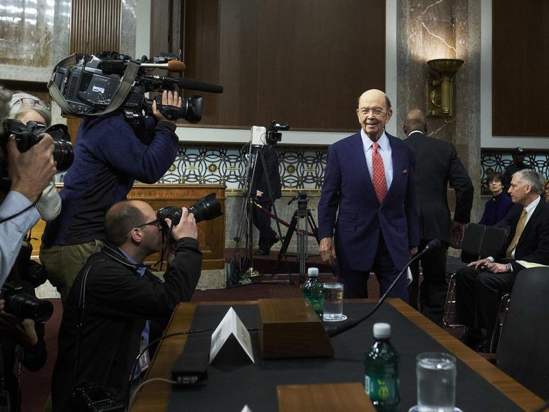 Wilbur Ross arriving for his confirmation hearing before the Senate Commerce Committee in January. Ross was confirmed by the U.S. Senate on Monday night.