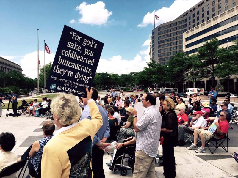ALS patients and their families rallied for expanded access to experimental drugs in Washington, D.C. on May 11, 2015.