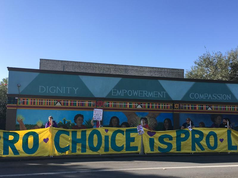In response to an anti-abortion march in McAllen, Texas, many pro-abortion rights demonstrators encircled the Whole Woman's Health clinic, which is the only abortion provider in the Rio Grande Valley.