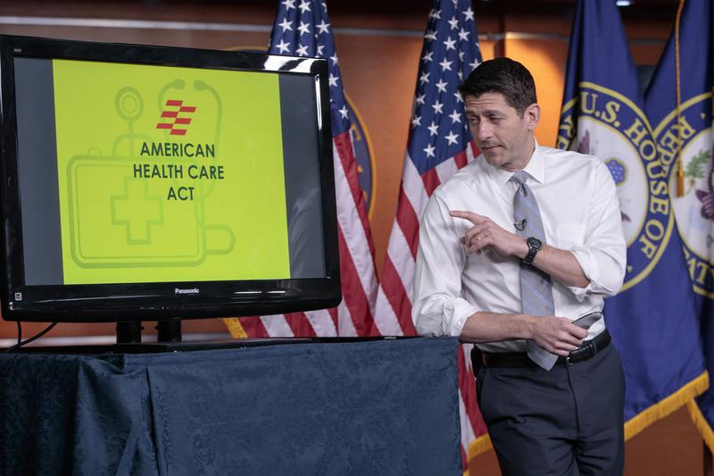 House Speaker Paul Ryan of Wis. uses charts and graphs to make his case for the GOP's long-awaited plan to repeal and replace the Affordable Care Act.. (J. Scott Applewhite)