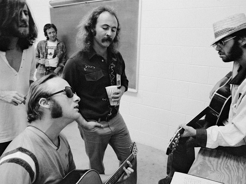 Left to right: Graham Nash, Stephen Stills, David Crosby and Neil Young. 1974.
