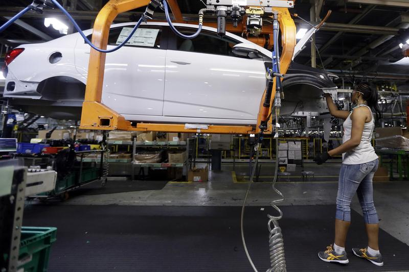 In this June 22, 2015 file  photo, a Buick Verano is assembled at General Motors' Orion Assembly plant in Orion Township, Mich.  (Carlos Osorio/AP)