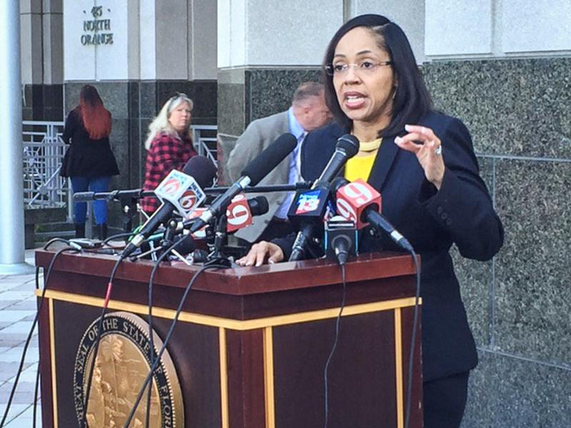 Orange-Osceola State Attorney Aramis Ayala speaks with reporters about her decision to not pursue the death penalty during her administration.