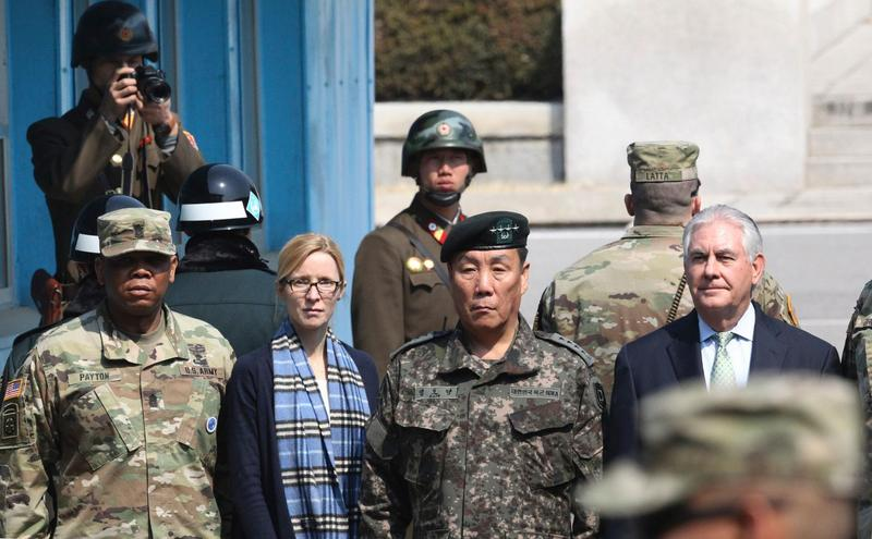 Secretary of State Rex Tillerson (right) stands at the Korean border village of Panmunjomon on March 17, 2017. (Lee Jin-Man/AFP/Getty Images)