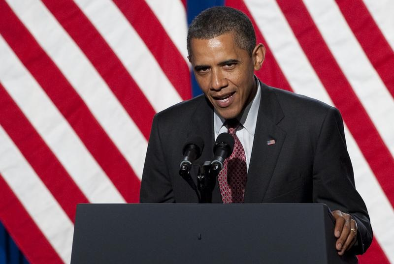 President Barack Obama speaks at the Democratic National Committee's Lesbian Gay Bisexual Transgender Leadership Gala in New York, June 23, 2011.