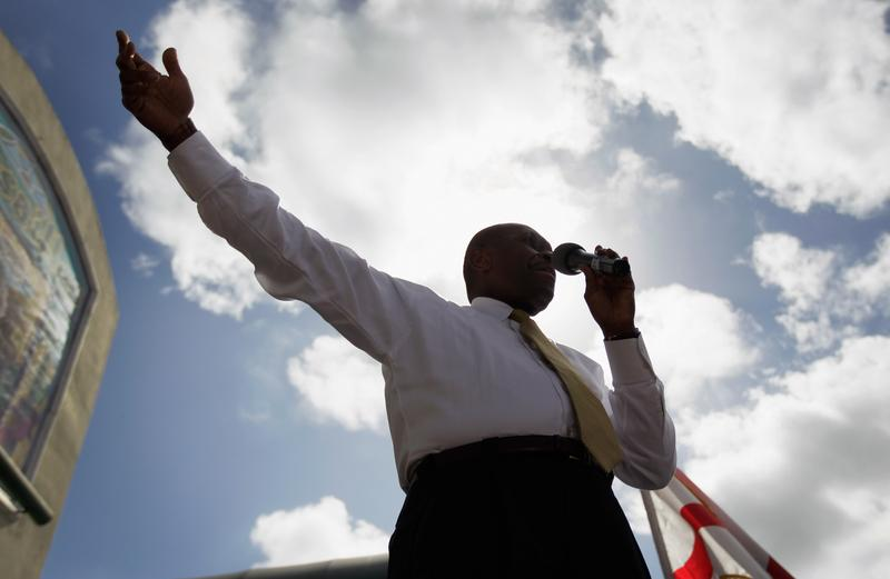 Republican Presidential candidate Herman Cain speaks during a campaign visit.