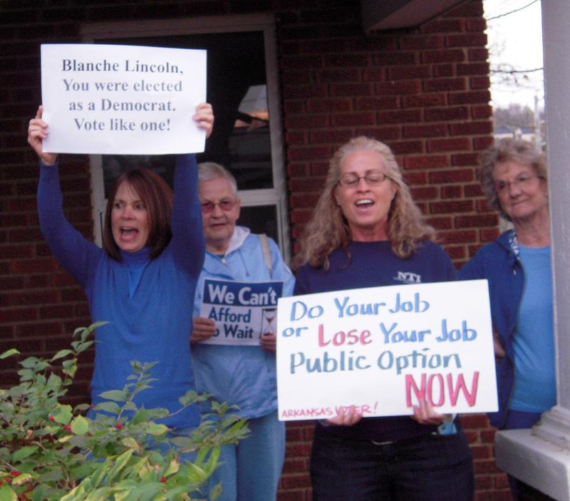 Rally in favor of public option, at Sen. Blanche Lincoln's office, Nov. 12, 2009.