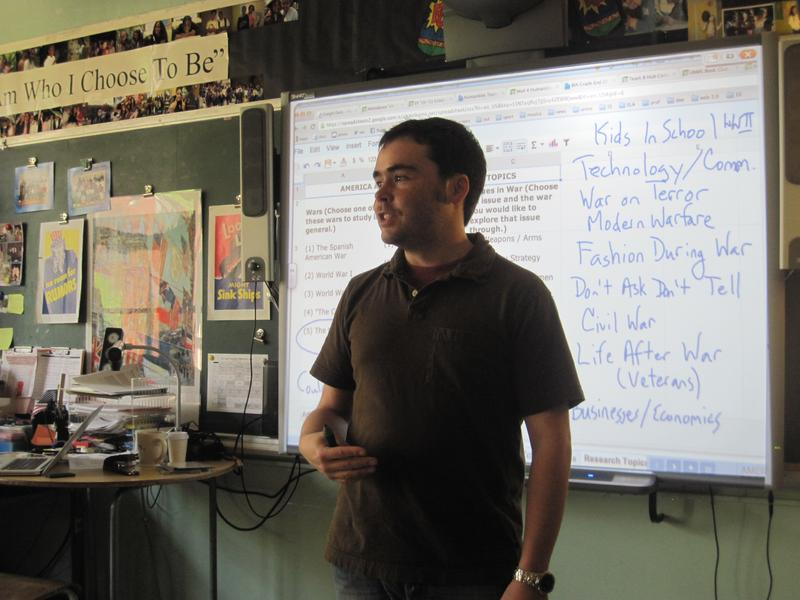 Eighth grade humanities teacher Mike Locker puts more emphasis on writing now