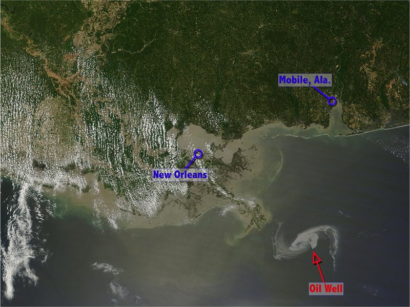 A true color image of the oil slick approaching the Louisiana coast (4/29)
