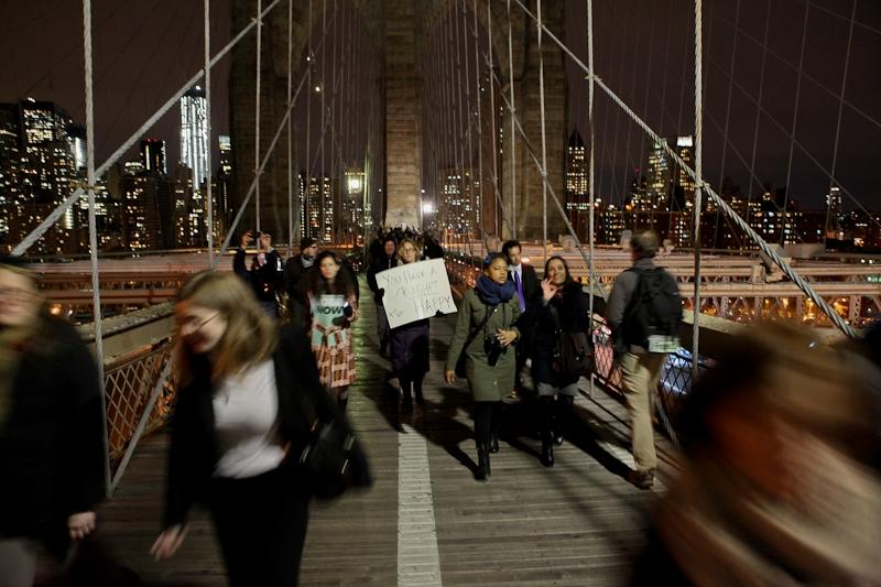 Occupy Wall Street protester on the Brooklyn Bridge