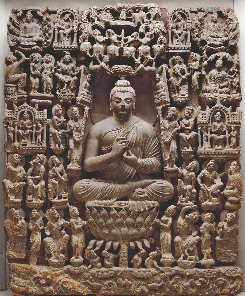 Vision of a Buddha Paradise. Pakistan. 4th century CE. Light gray schist.