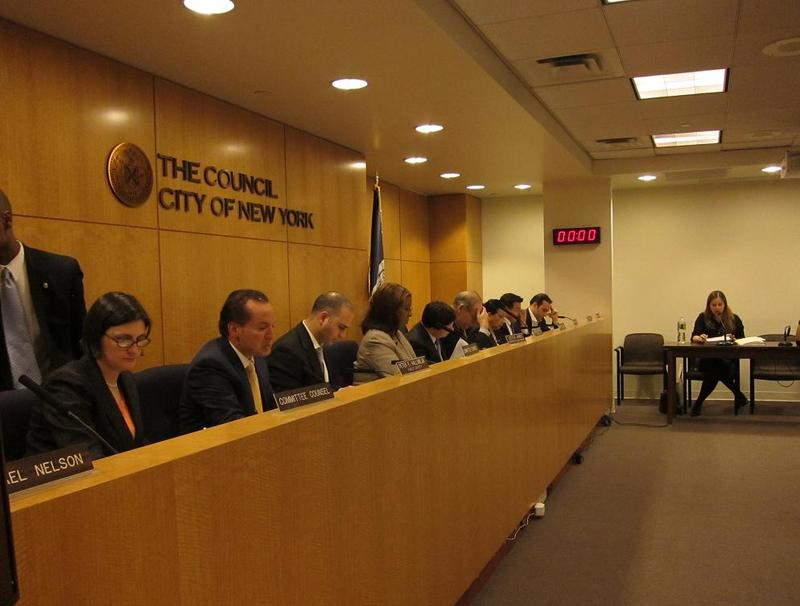 Liz Weinstein, right, testifies at the March 9 Council hearing on blizzard response