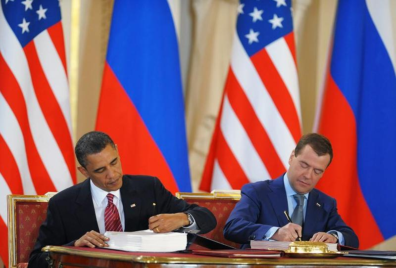 President Obama and Russian President Dmitry Medvedev sign the START treaty in Prague