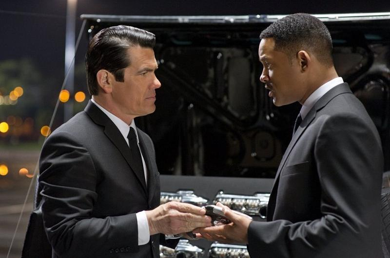 'Men in Black 3' stars Will Smith, Tommy Lee Jones, and Josh Brolin as young Tommy Lee Jones.
