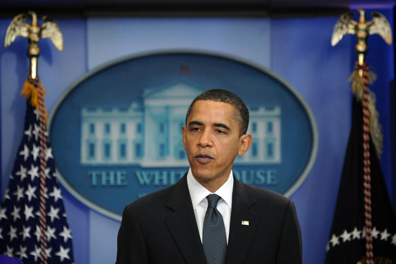 US President Barack Obama gives an unscheduled press briefing at the White House in Washington, DC, on March 26, 2010