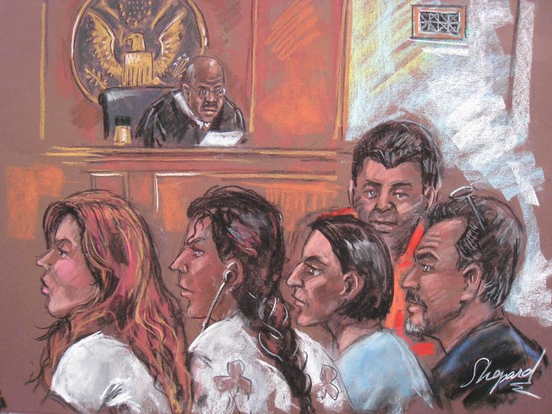 This drawing dated June 28, 2010 shows five of the 10 arrested Russian spy suspects in a New York courtroom.