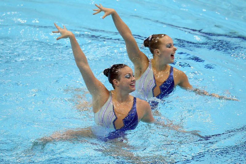 U.S. Olympic synchronized swimming duet of Mary Killman and Mariya Koroleva