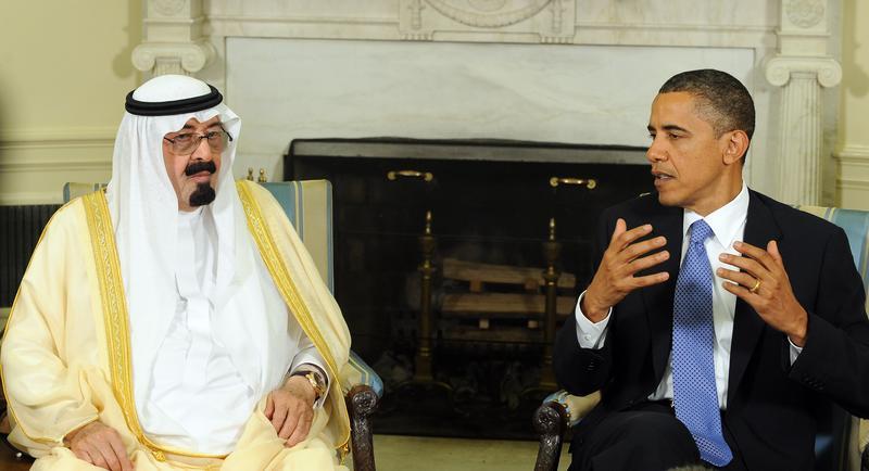 U.S. President Barack Obama (R) and Saudi Arabian King Abdullah Bin-Abd-al-Aziz Al Saud speak to the media after their meeting in the Oval Office of the White House June 29, 2010 in Washington, DC.