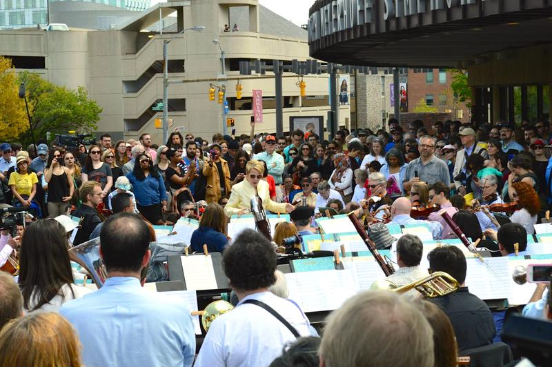 Baltimore Symphony Orchestra Music Director Marin Alsop directing at a free concert for Baltimore residents on April 29th, 2015.