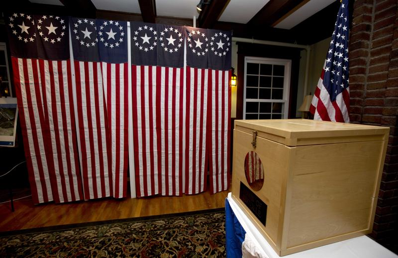A ballot box is set Monday Nov. 7, 2016, for residents in Dixville Notch, N.H., to vote at midnight.