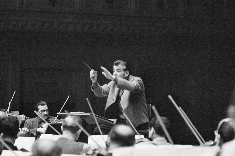 Leonard Bernstein rehearses New York Philharmonic orchestra at Carnegie Hall in New York, April 11, 1961