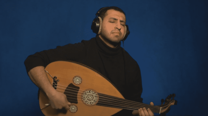 Yemi oud player Ahmed Alshaiba at the TED studios.