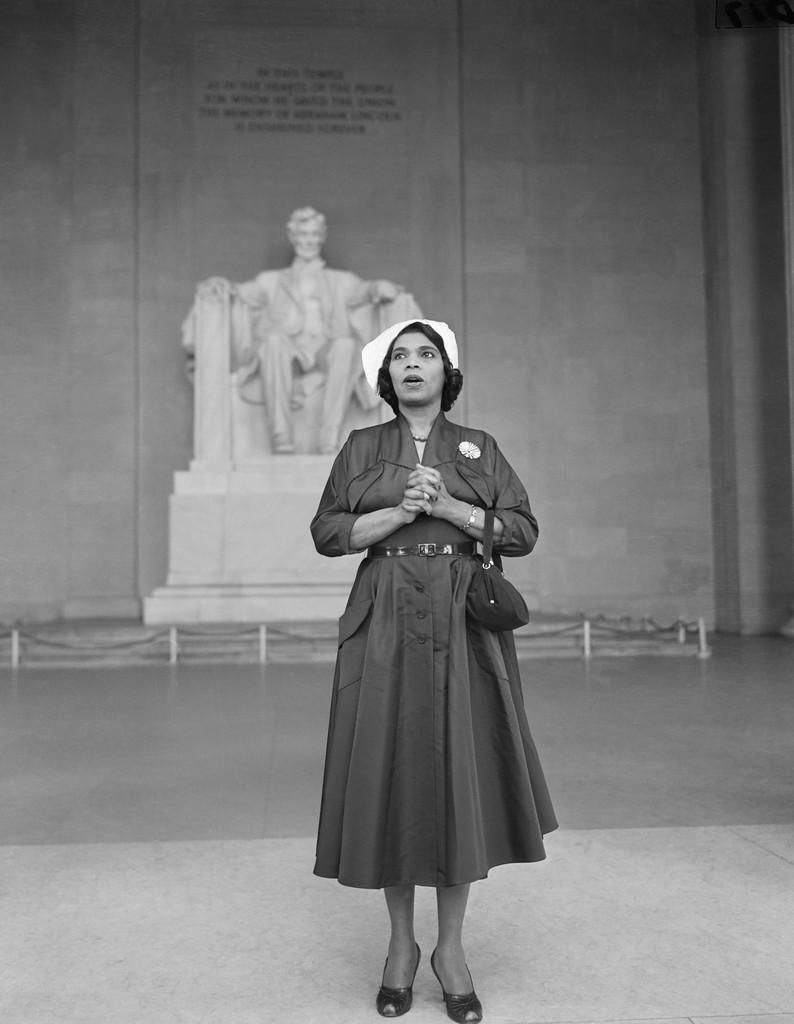 Marian Anderson singing at the Lincoln Memorial, April 21, 1952.