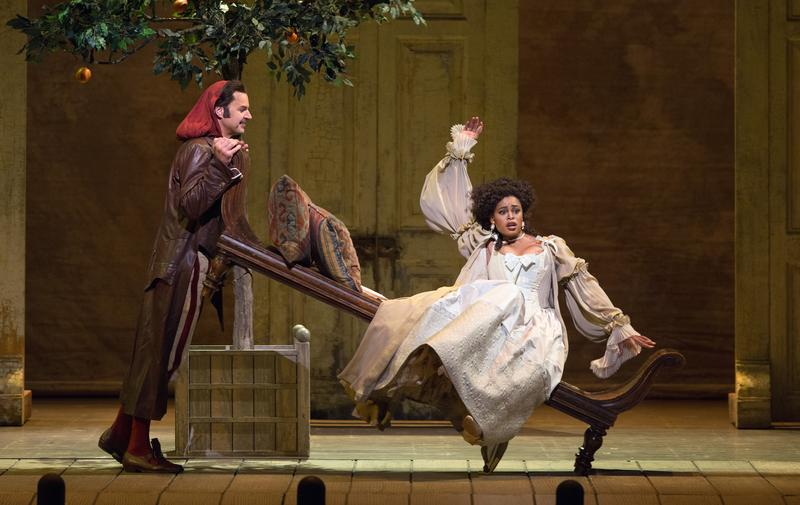 Peter Mattei as Figaro and Pretty Yende as Rosina in 'Il Barbiere di Siviglia.'