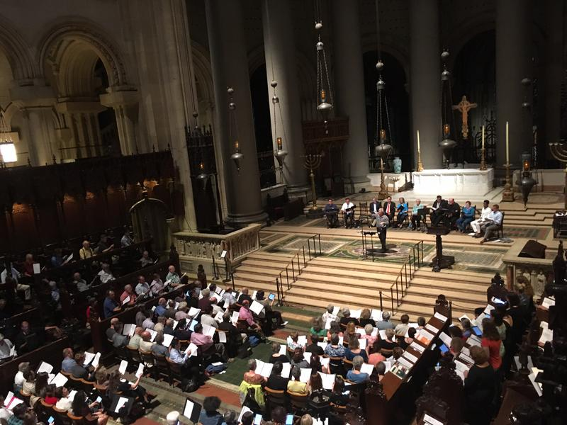 Mark Shapiro leads about 350 vocalists at St. John the Divine.