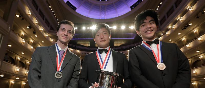 Van Cliburn 2017 medalists Kenneth Broberg, left; gold medalist Yekwon Sunwoo, center; and bronze medalist Daniel Hsu, right
