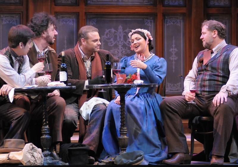 Joseph Lim, Andrea Silvestrelli, Joseph Calleja, Anna Netrebko, and Lucas Meachem in 'La Boheme.'