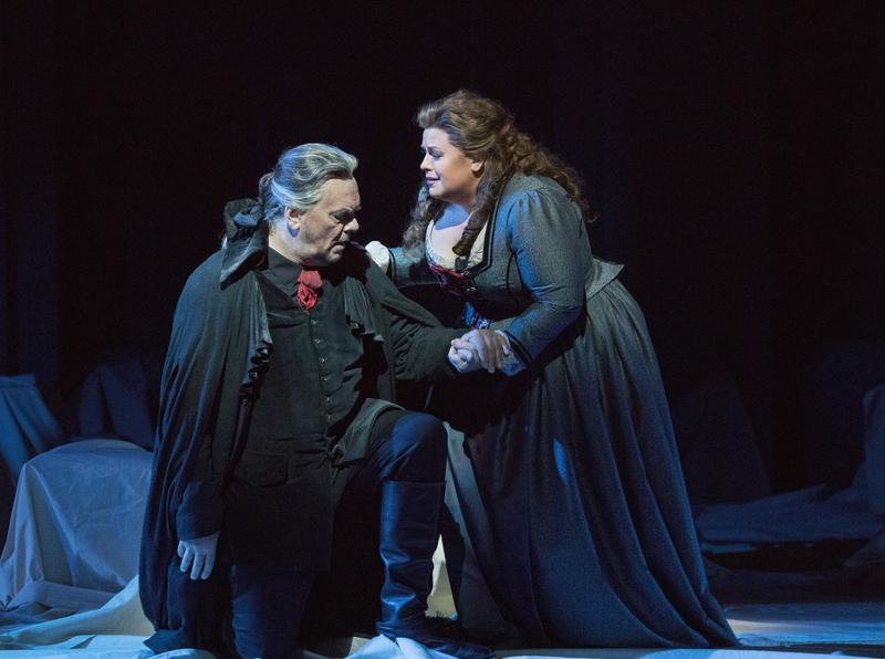 Michael Volle as Holländer and Amber Wagner as Senta in Wagner's Der Fliegende Holländer