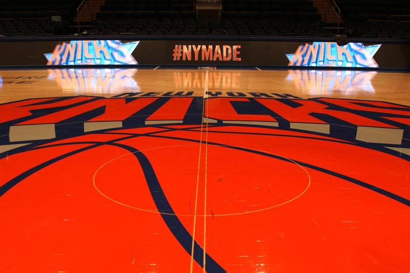 The Knicks Basketball Court At Madison Square Garden.