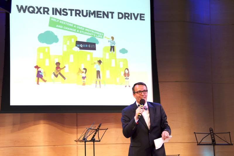 WQXR general manager Graham Parker speaking about the WQXR Instrument Drive in the Greene Space.