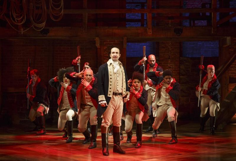 Lin-Manuel Miranda and the cast of Hamilton at the Public Theatre.