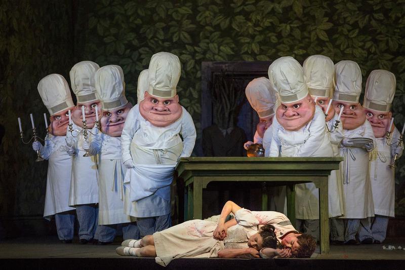 """A scene from Humperdinck's """"Hansel and Gretel"""" with Lisette Oropesa as Gretel and Tara Erraught as Hansel."""