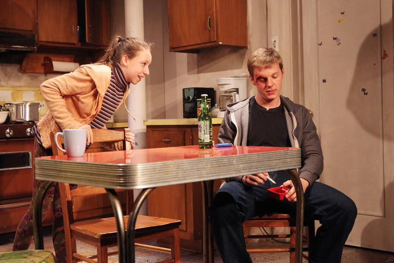 "Izzy Hanson-Johnston and Will Pullen onstage in ""Scarcity"""