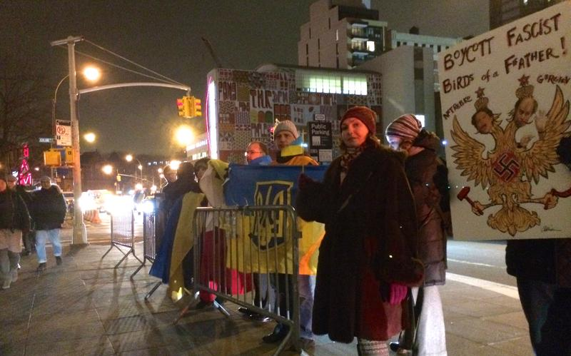 Pro-Ukraine Protesters Denounce Conductor Valery Gergiev at BAM in Brooklyn