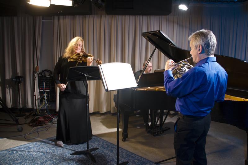 Members of The Orchestra of St. Luke's: Stewart Rose on the horn, Krista Bennion Feeney on violin and Pedja Muzijevic on piano.